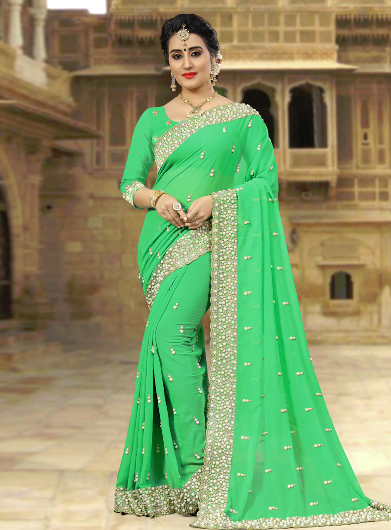 Green Georgette Saree With Blouse 143440