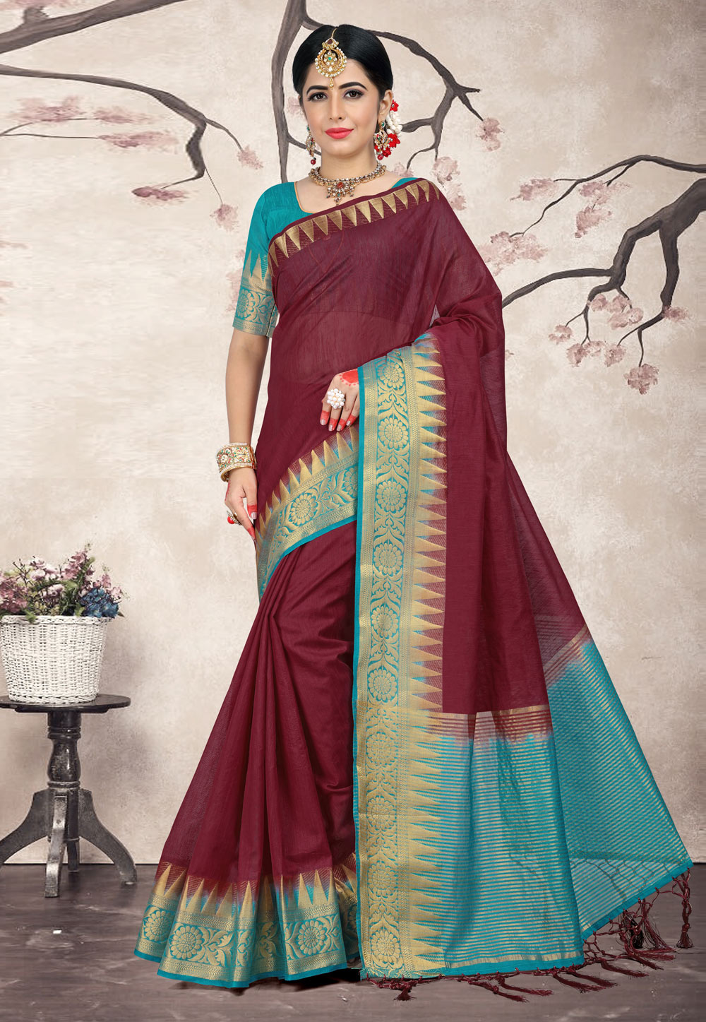 Wine Linen Saree With Blouse 154551