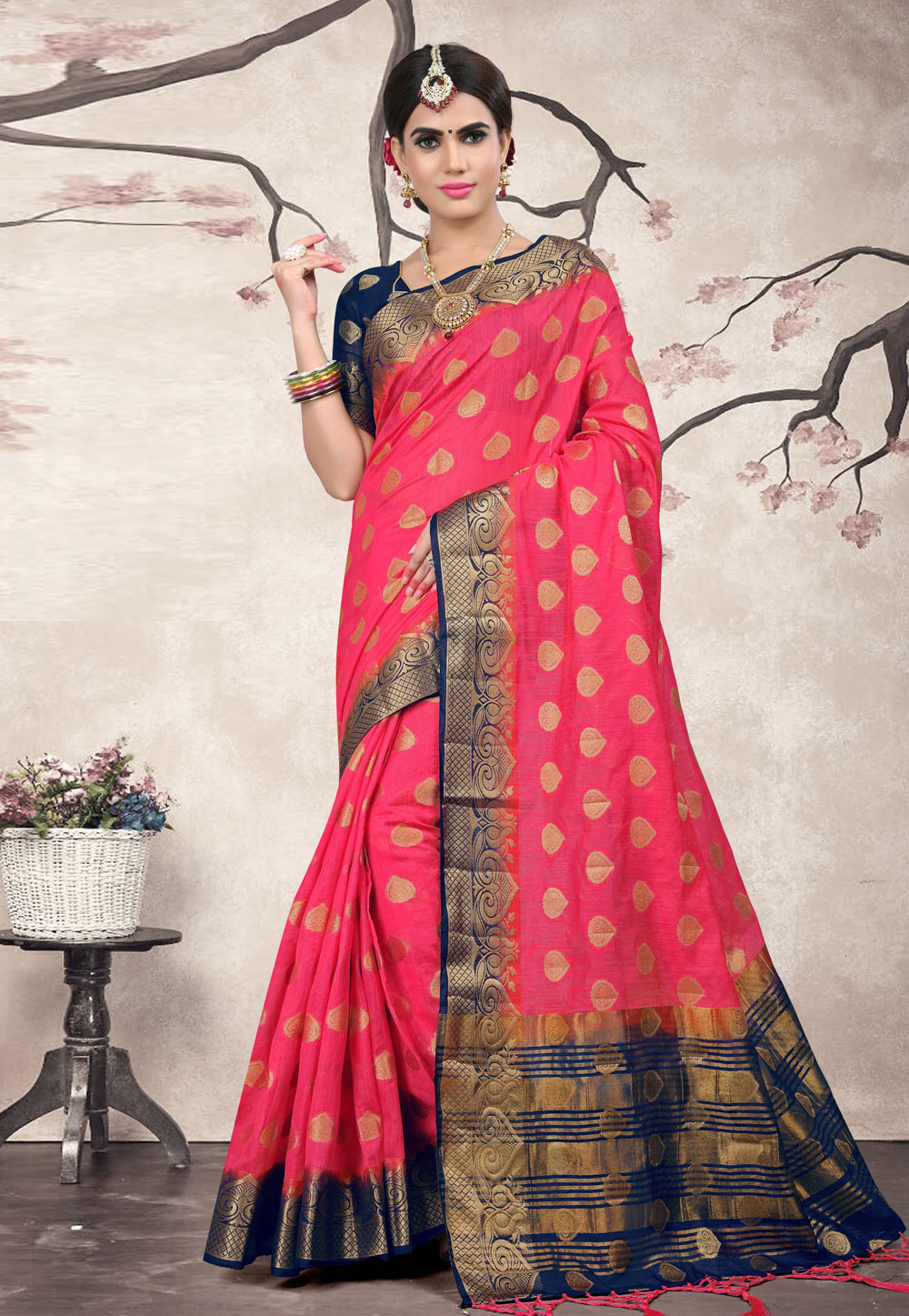 Pink Linen Saree With Blouse 154554