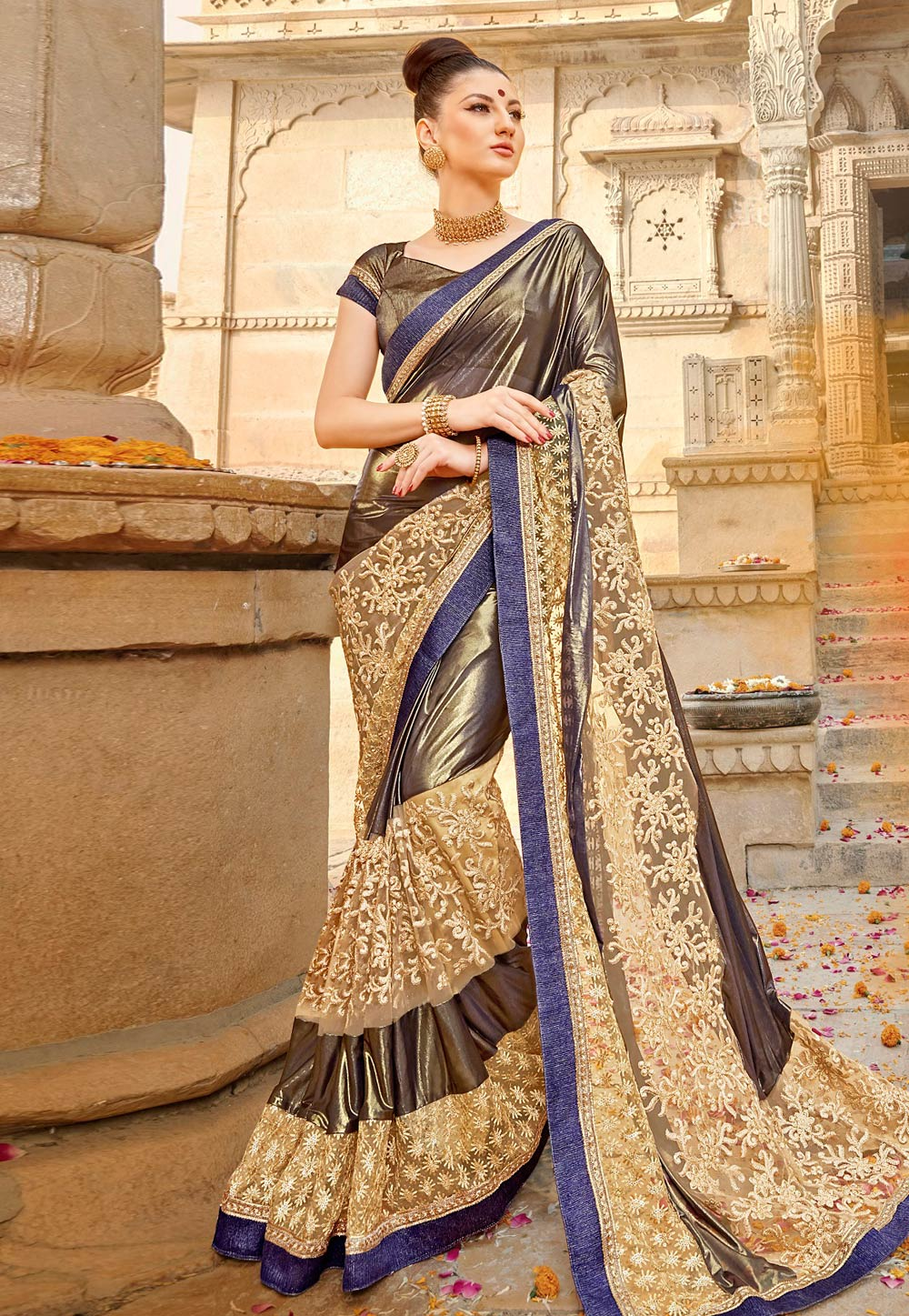 Brown Satin Saree With Blouse 181730
