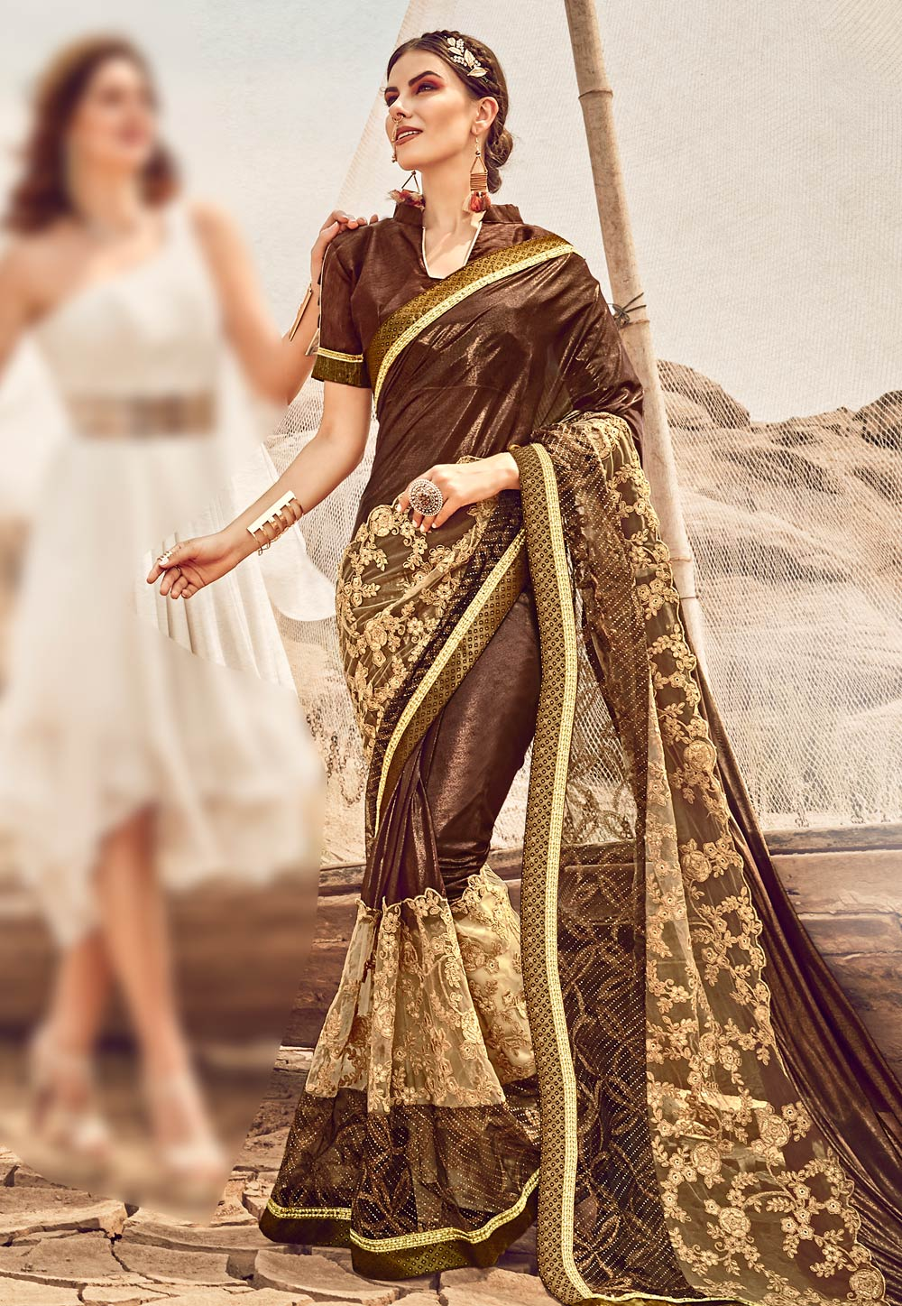 Brown Satin Festival Wear Saree 182816