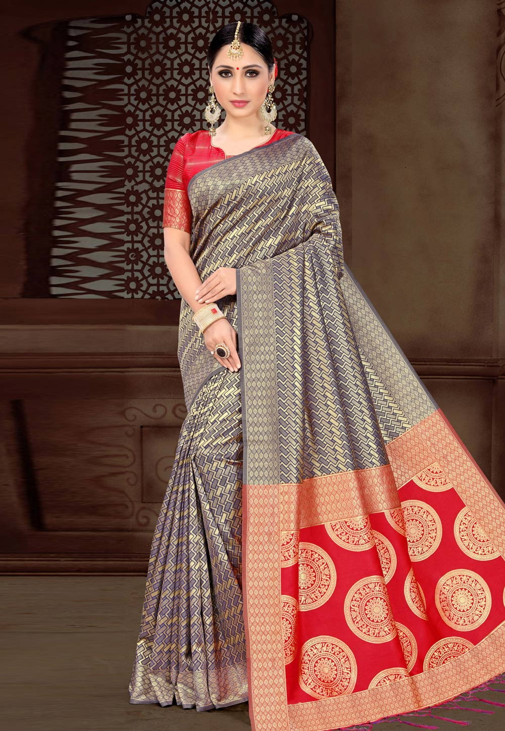 Blue Silk Festival Wear Saree 154454