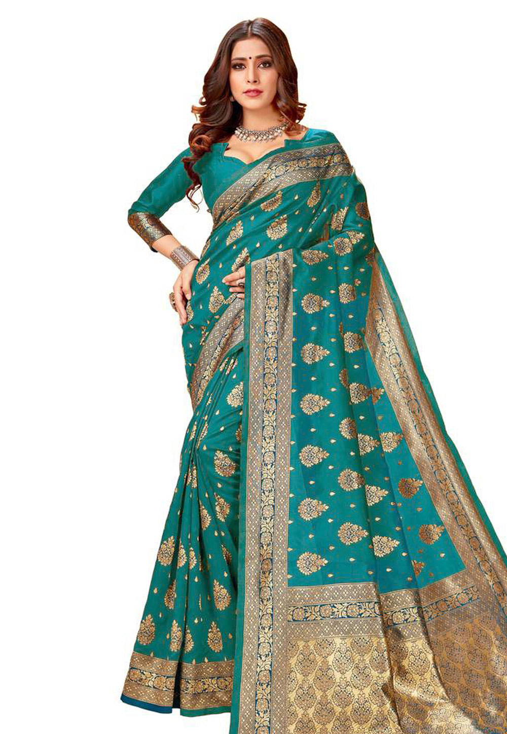 Turquoise Silk Saree With Blouse 204218