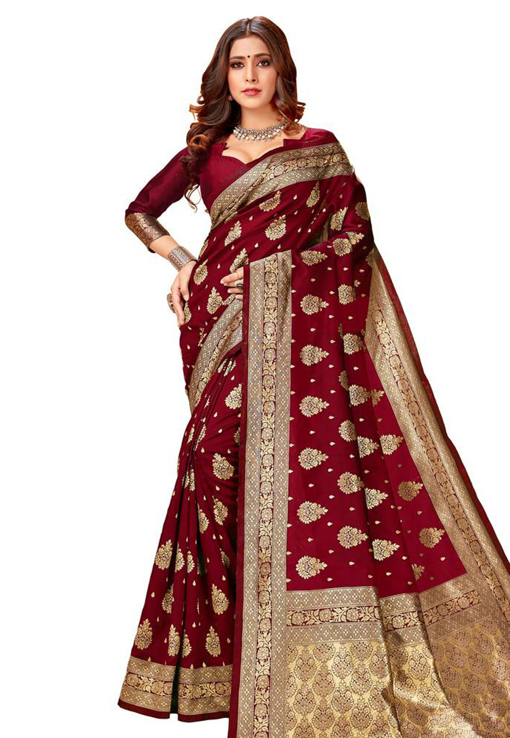 Maroon Silk Saree With Blouse 204220