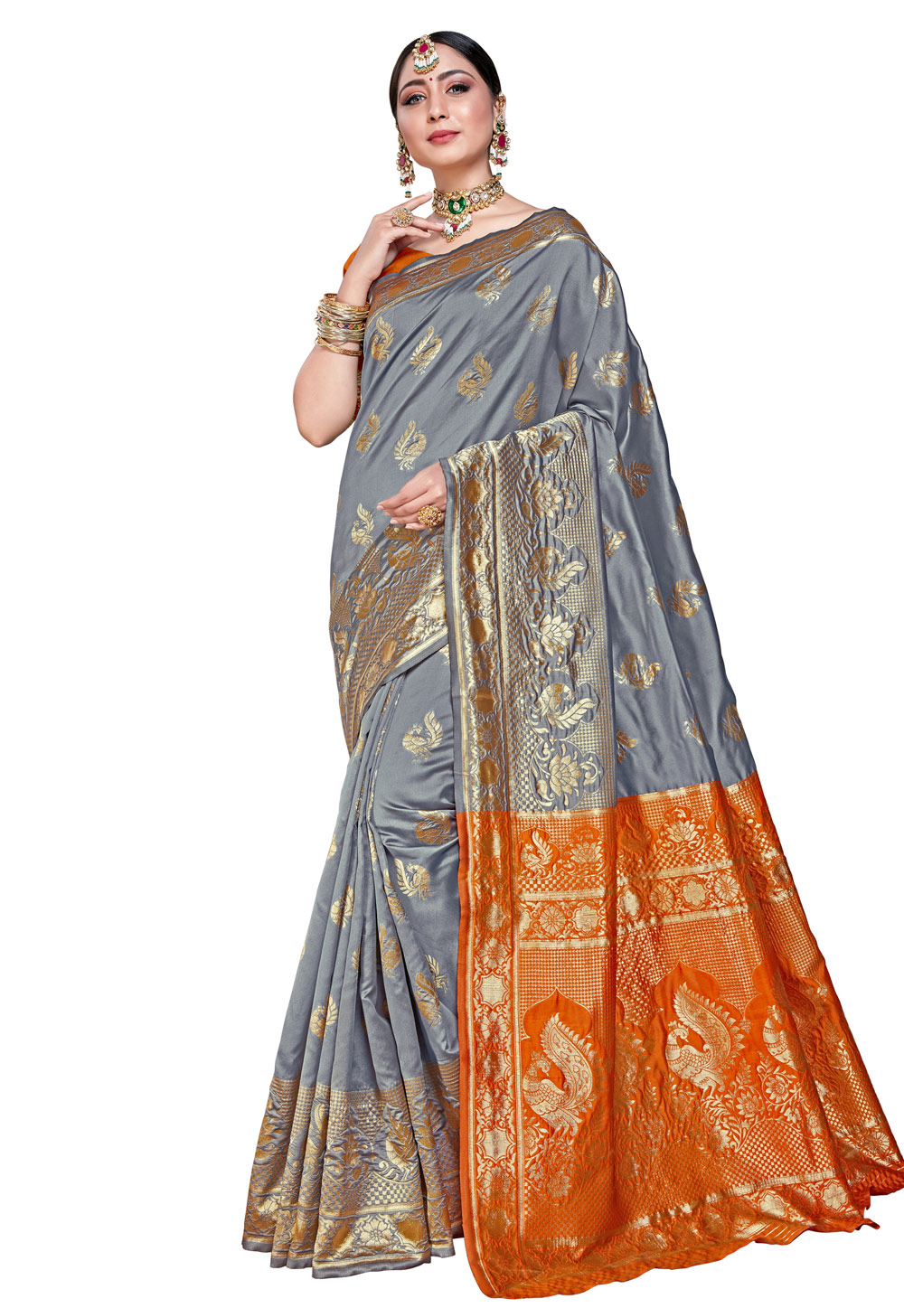 Grey Silk Festival Wear Saree 204225