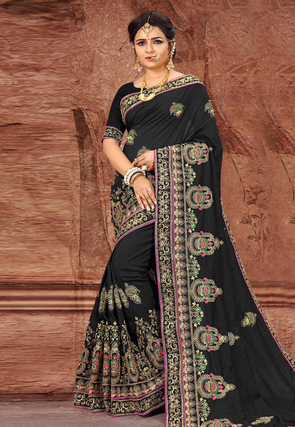 Black Silk Festival Wear Saree 203502