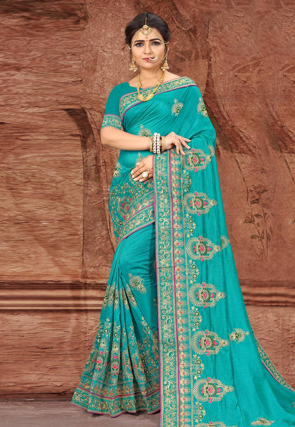 Turquoise Silk Saree With Blouse 203503