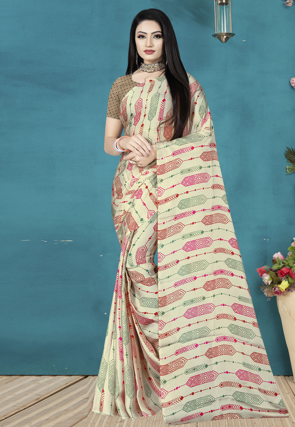 Cream Satin Silk Saree With Blouse 190355