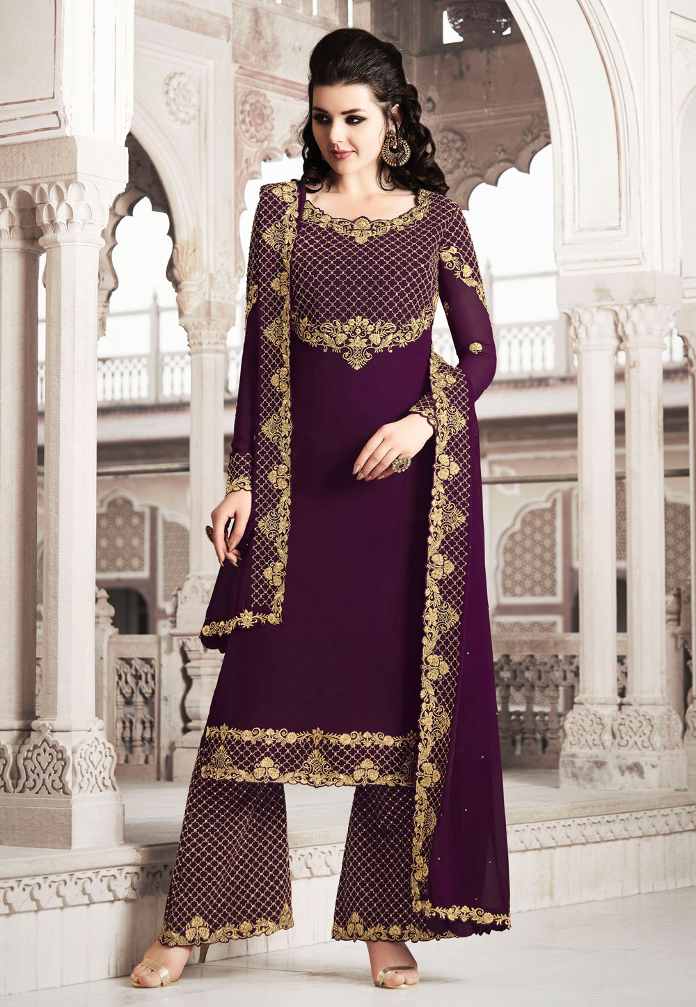 Purple Faux Georgette Embroidered Palazzo Suit 200561