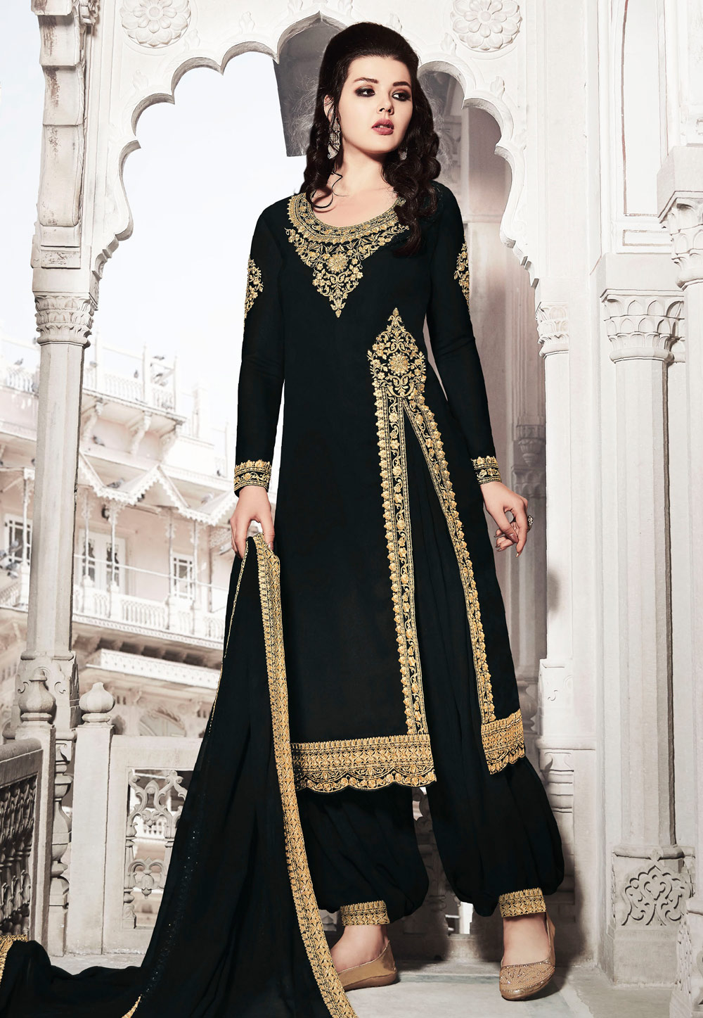 Black Faux Georgette Pakistani Style Suit 200565
