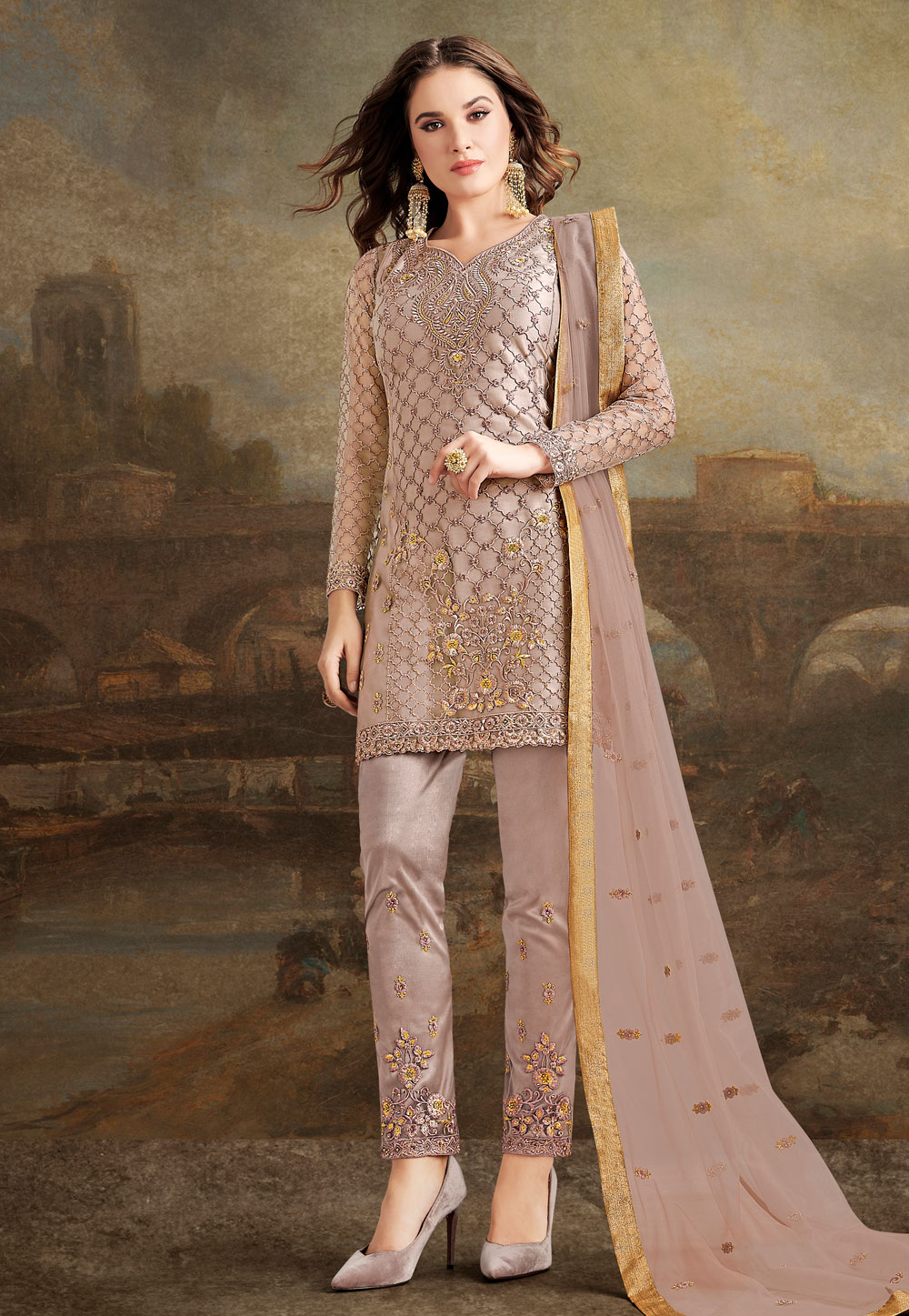 Light Brown Silk Pant Style Suit 190937