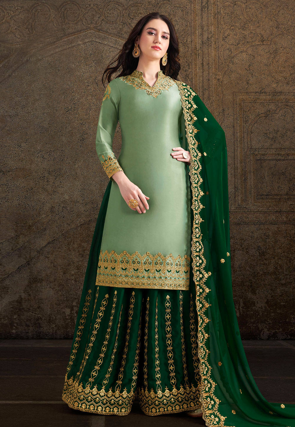 Light Green Satin Embroidered Kameez With Palazzo 196716