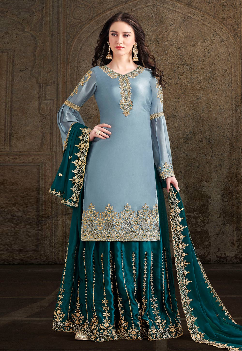 Sky Blue Satin Embroidered Palazzo Suit 196719