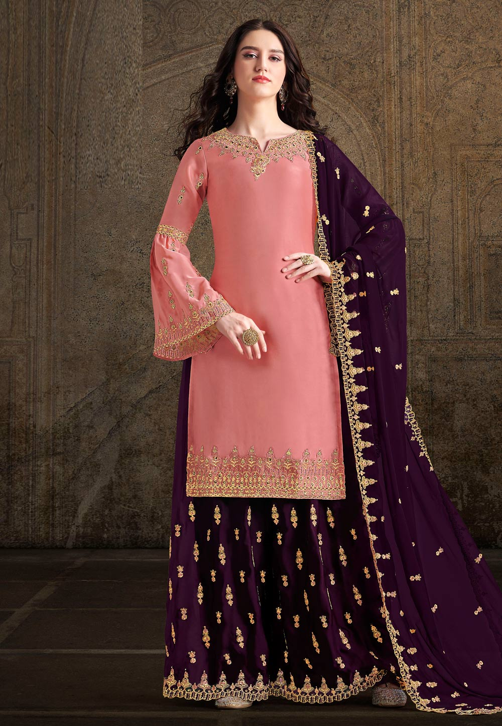 Pink Satin Embroidered Kameez With Palazzo 196720
