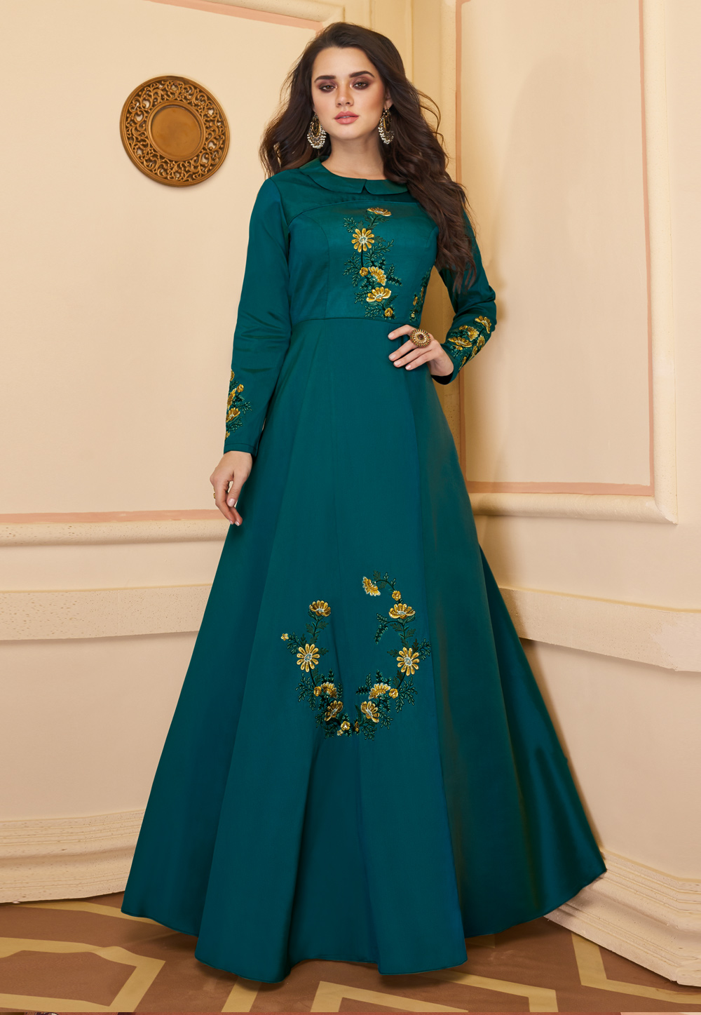 Blue Silk Readymade Party Wear Gown 210630