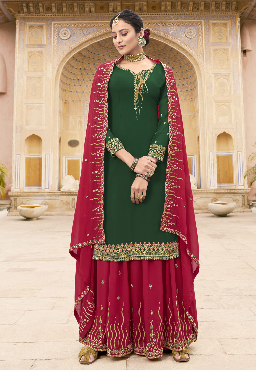 Green Georgette Kameez With Palazzo 198712