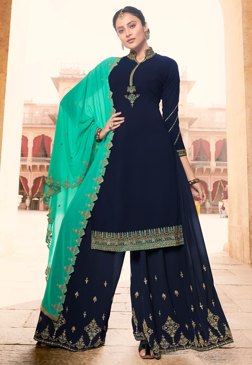 Navy Blue Georgette Palazzo Suit 198715