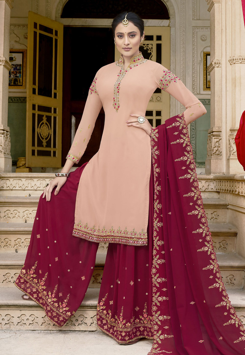 Peach Georgette Kameez With Palazzo 198716