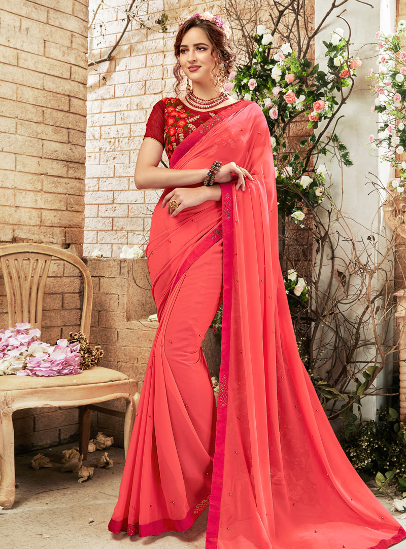 Pink Georgette Saree With Blouse 148054