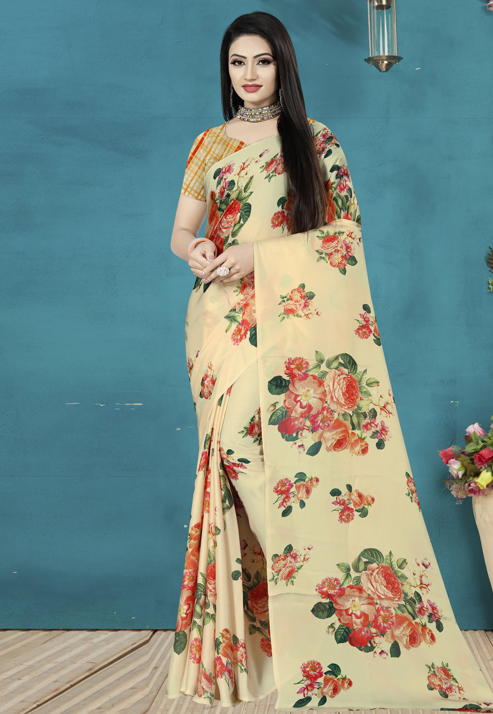 Cream Satin Silk Printed Saree 190362