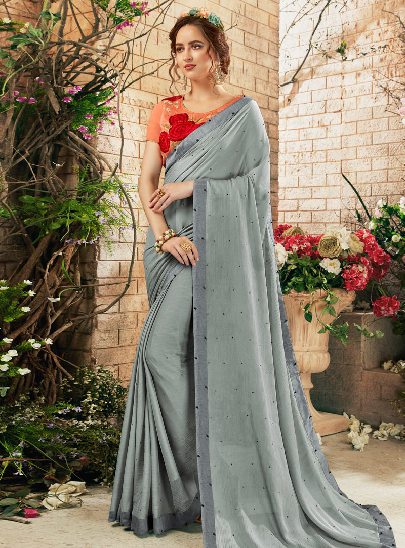 Grey Georgette Saree With Blouse 148058