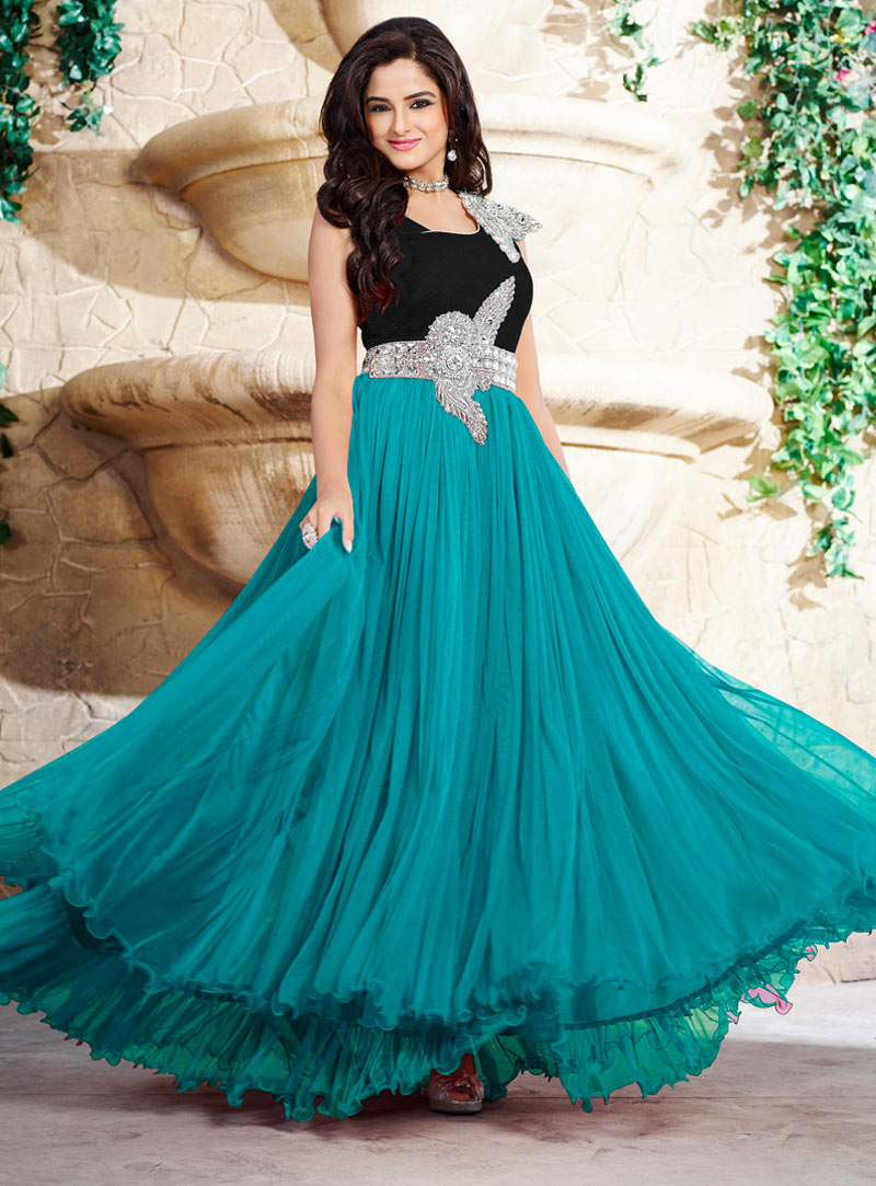 Turquoise Pure Satin Party Wear Gown 58100