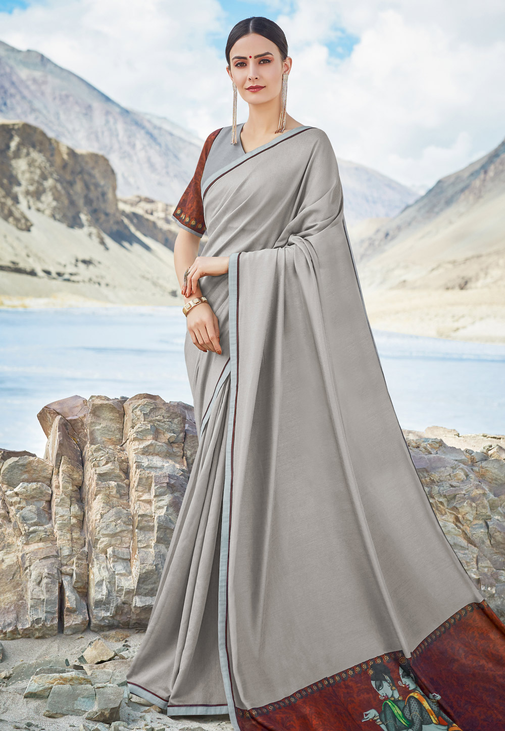 Grey Chiffon Festival Wear Saree 195214