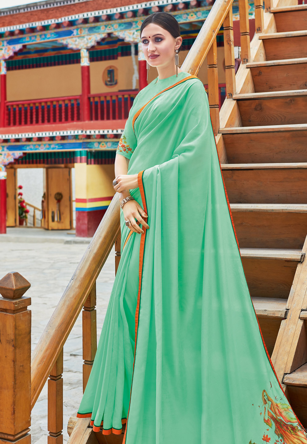 Light Green Chiffon Saree With Blouse 195215