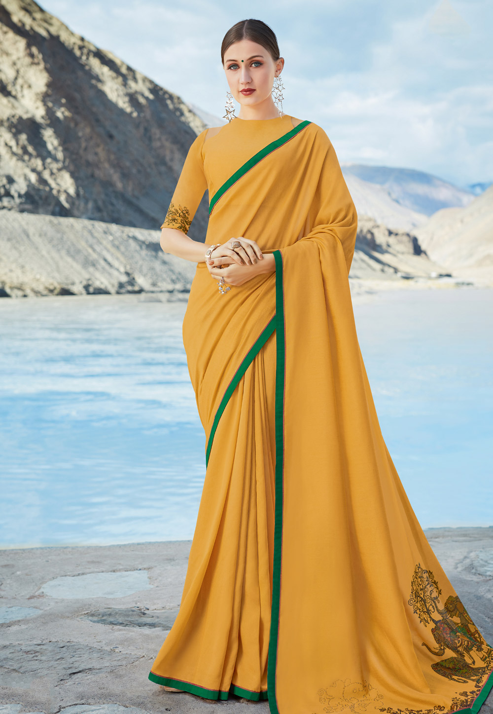 Yellow Chiffon Saree With Blouse 195220