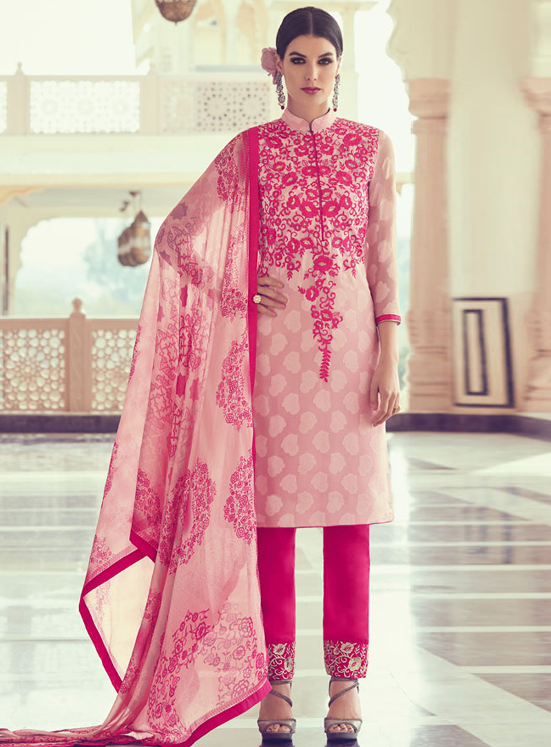 Pink Georgette Pakistani Style Suit 140365