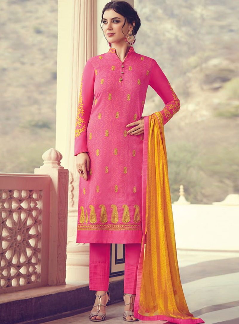 Pink Georgette Pant Style Suit 140368