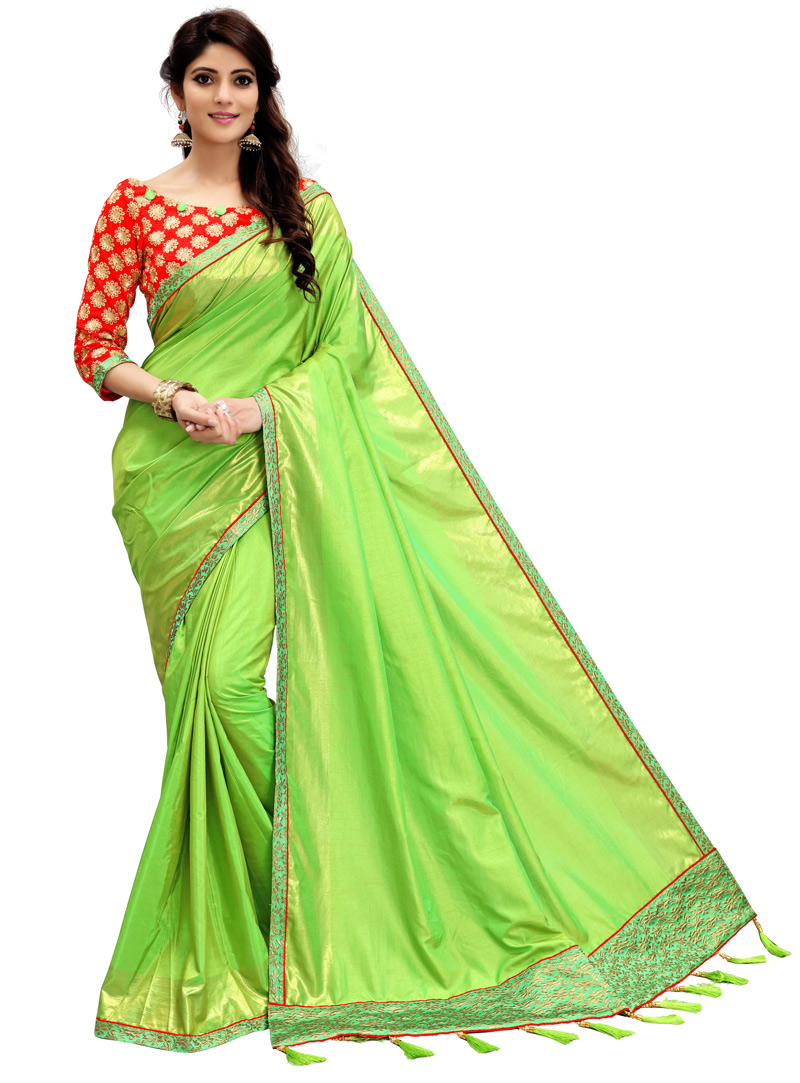 Light Green Silk Saree With Embroidered Blouse 101659