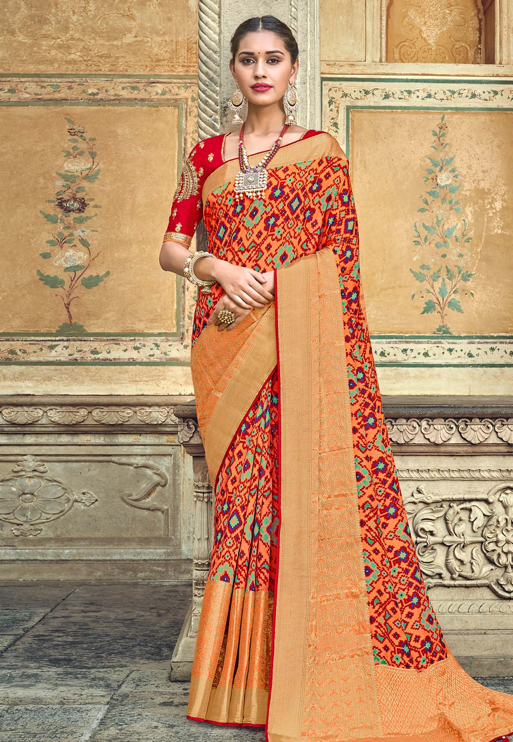 Orange Banarasi Silk Saree With Blouse 187202