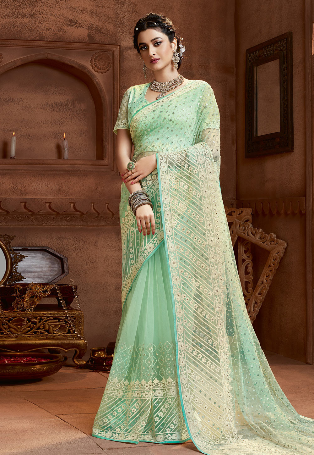 Light Green Net Saree With Blouse 208103