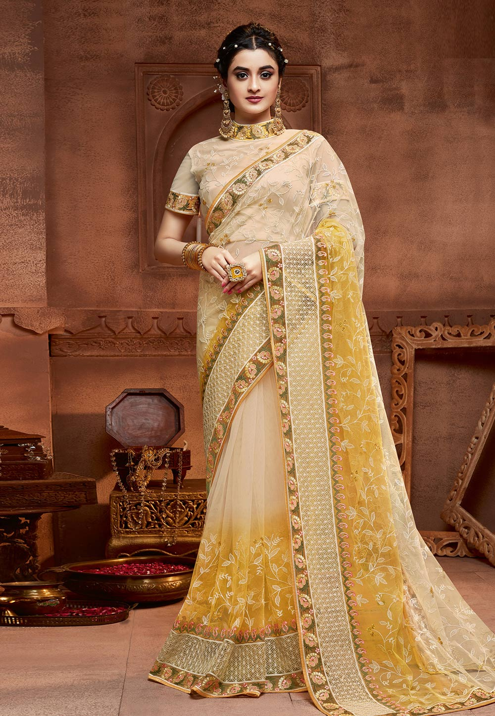 Beige Net Saree With Blouse 208105