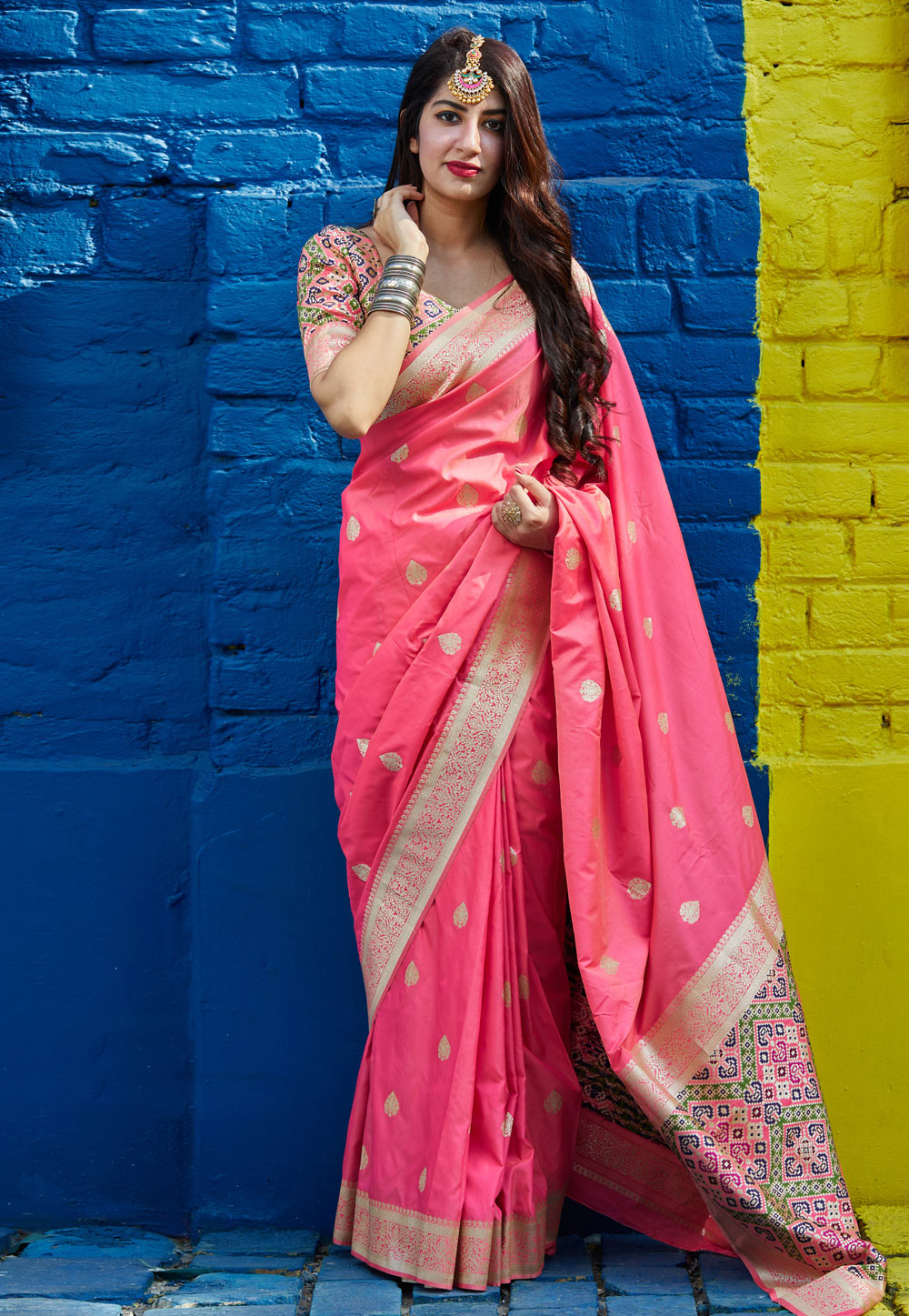 Pink Banarasi Silk Festival Wear Saree 209034