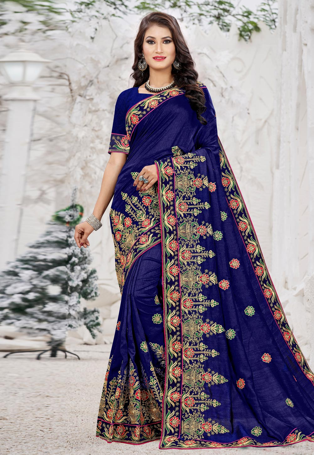 Blue Silk Festival Wear Saree 207403