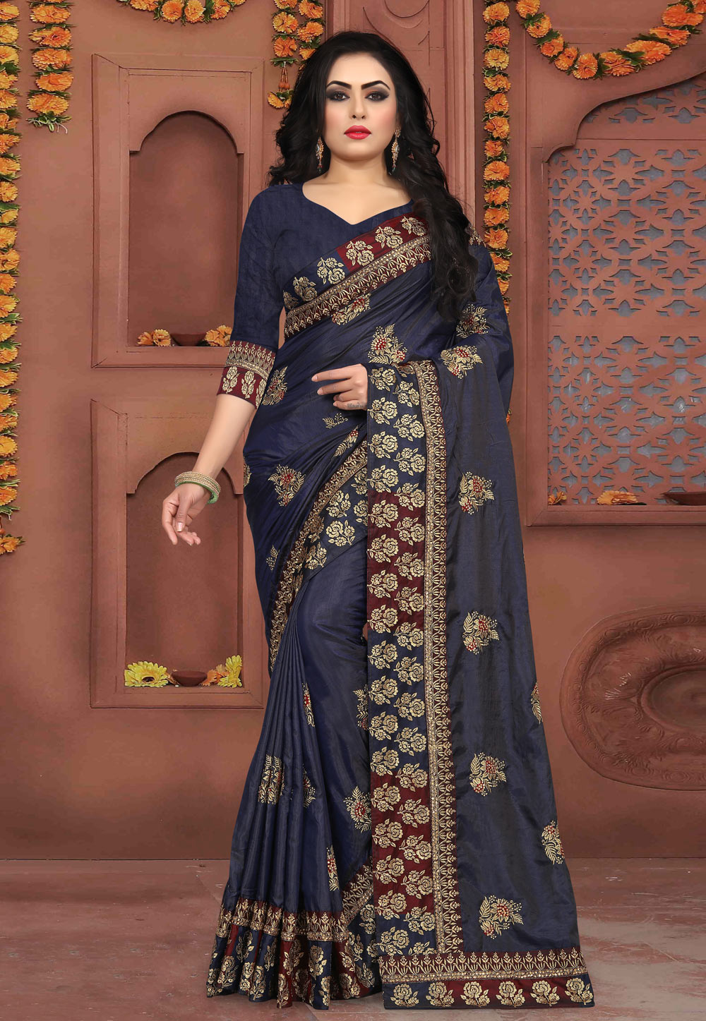 Navy Blue Silk Festival Wear Saree 154217