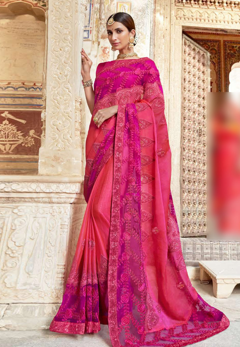 Pink Faux Georgette Saree With Blouse 203524