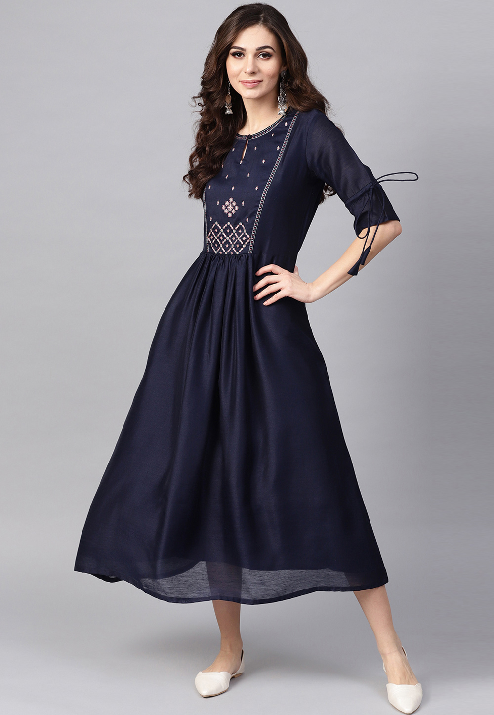 Navy Blue Rayon Readymade Tunic 188942