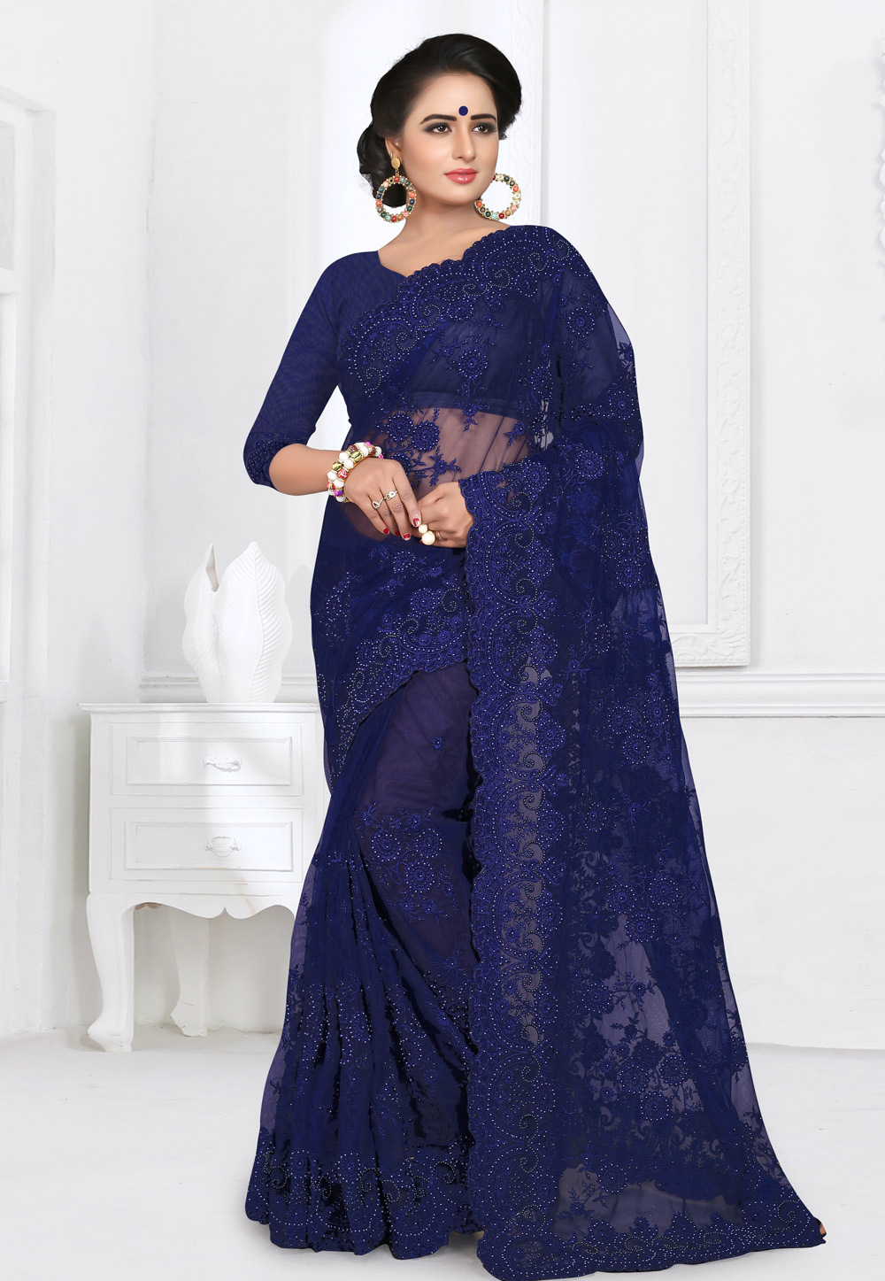 Navy Blue Net Saree With Blouse 155158