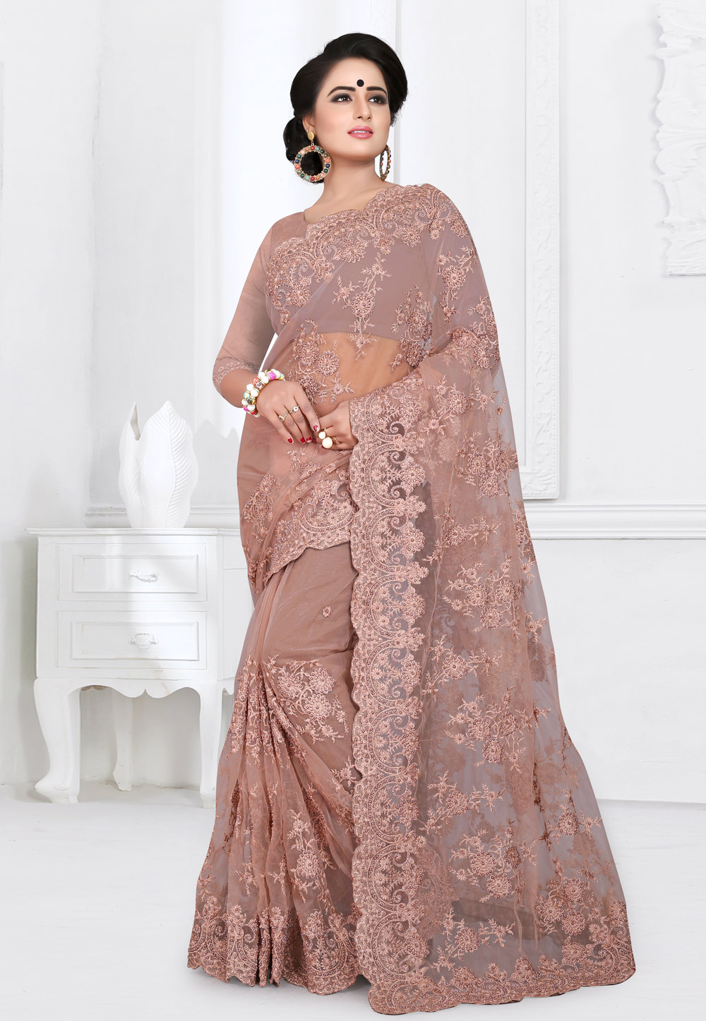 Shaded Pink Net Saree With Blouse 155162