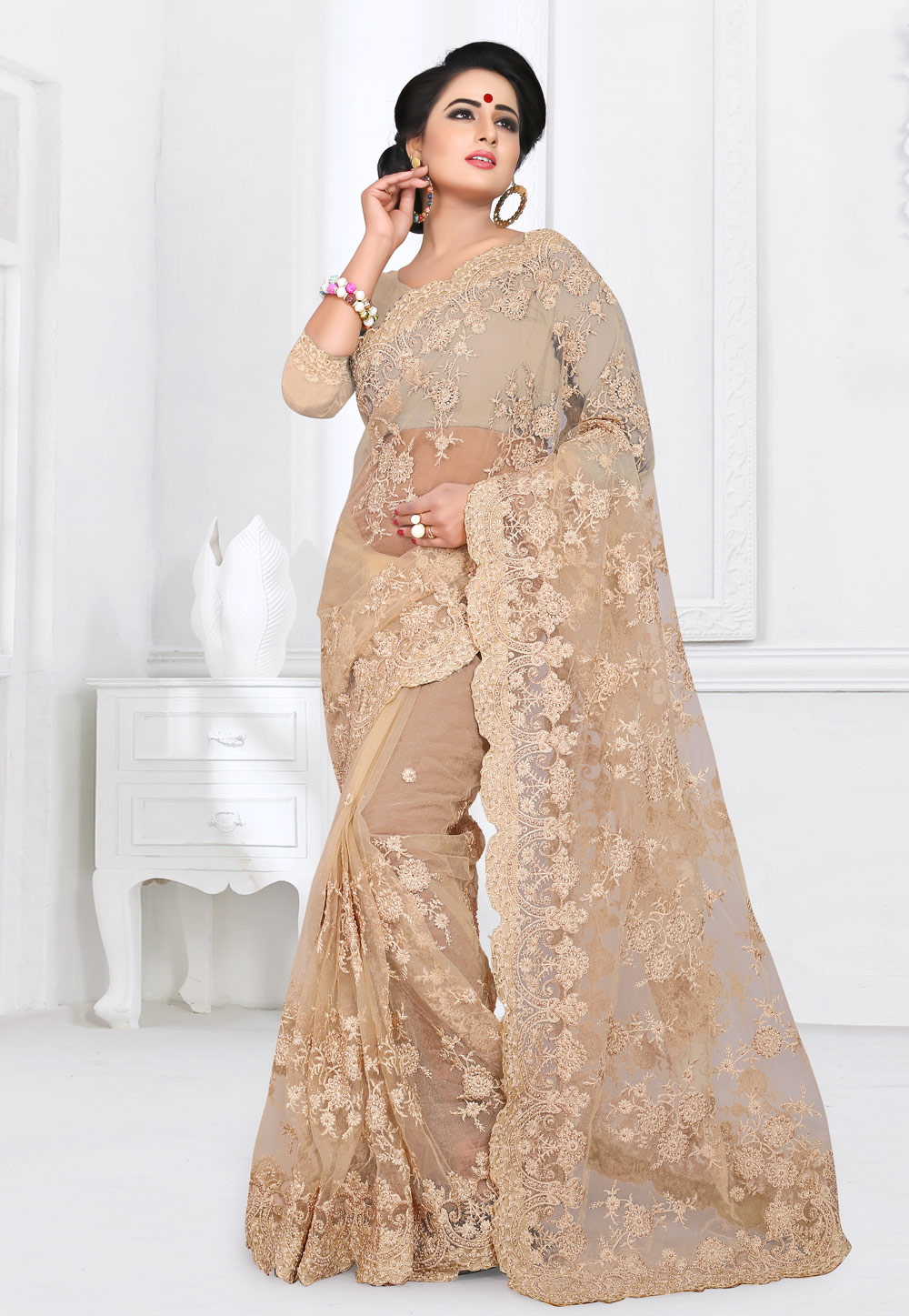 Beige Net Festival Wear Saree 155165