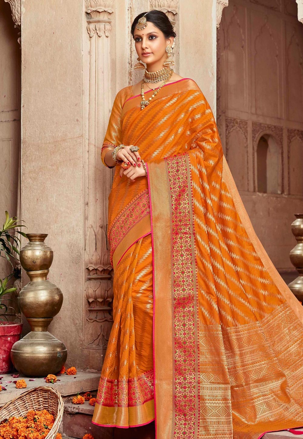 Orange Silk Festival Wear Saree 196829