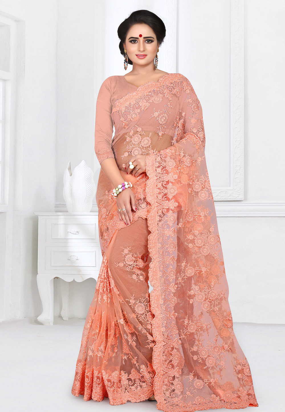 Peach Net Saree With Blouse 155170