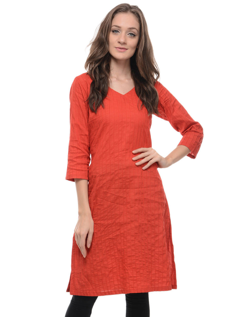 Orange Cotton Readymade Kurti 105023