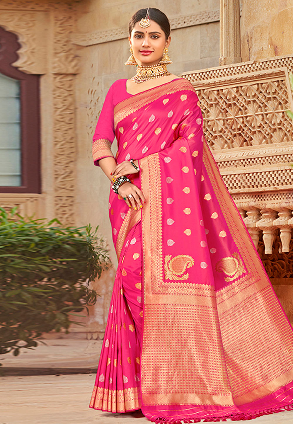 Pink Banarasi Silk Festival Wear Saree 209008