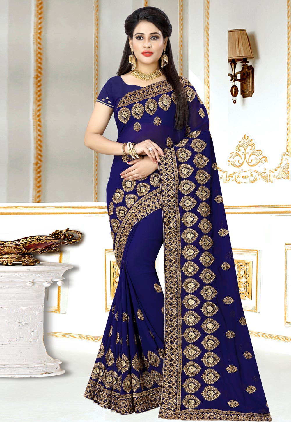 Blue Georgette Festival Wear Saree 156970