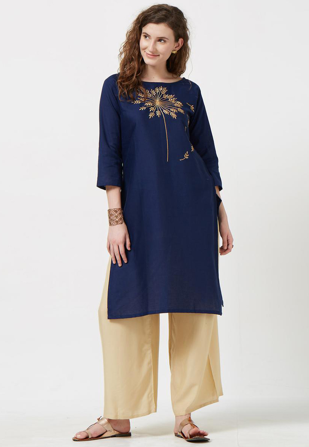 Navy Blue Rayon Readymade Tunic 188958