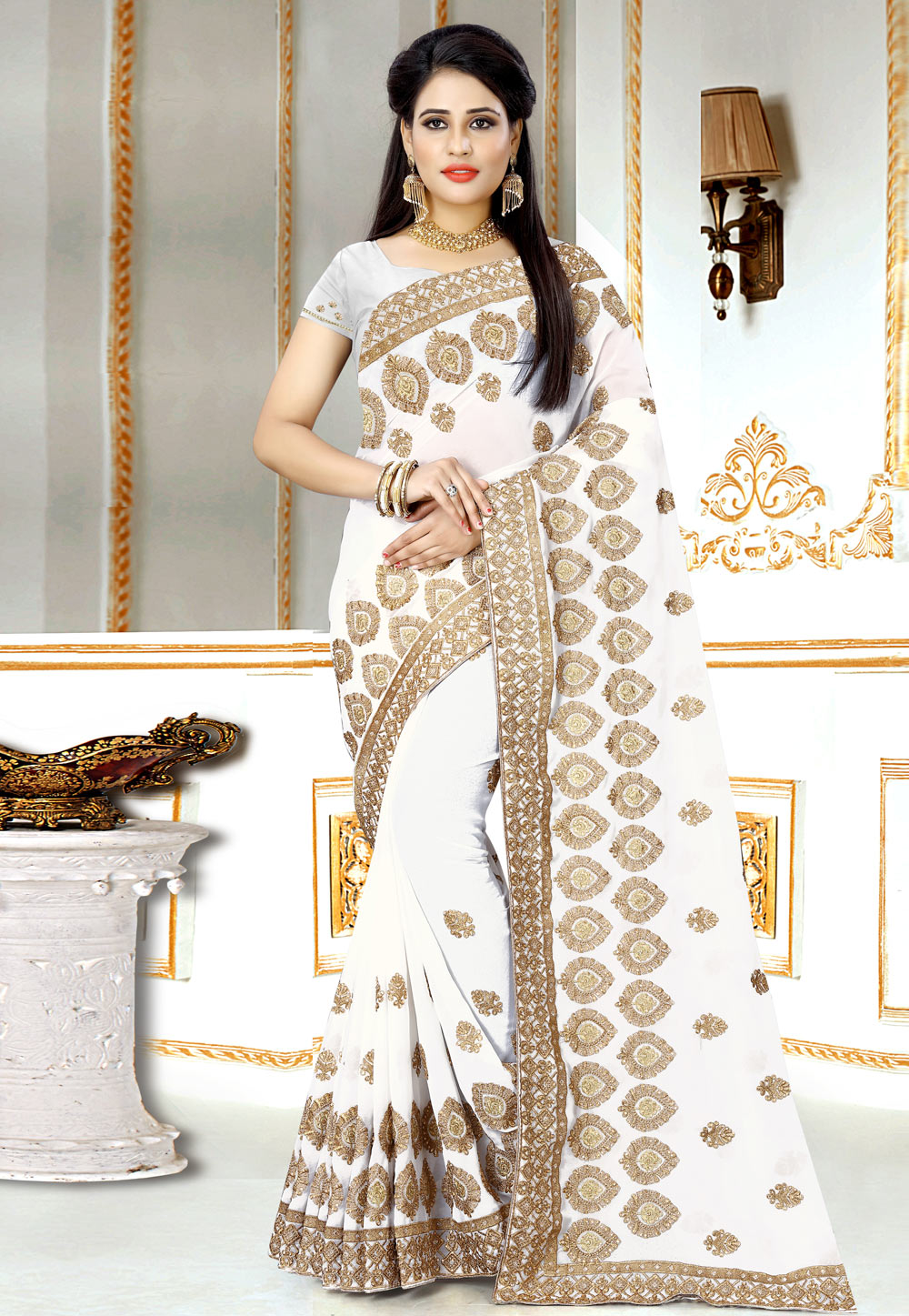 White Georgette Festival Wear Saree 156972